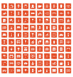 100 interior icons set grunge orange vector image vector image