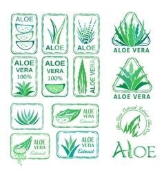 Aloe vera design elements Stencil style vector image