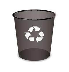 black transparent trash or waste recycle bin vector image