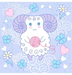 Cute sheep on a meadow vector image