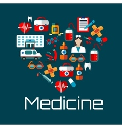 Healthy heart symbol with medical services icons vector image vector image