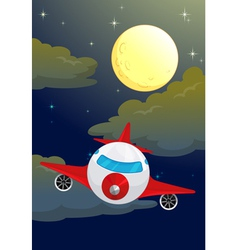 Plane night flying vector image
