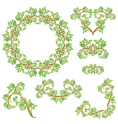 Set of floral seamless detailed ornaments borders vector