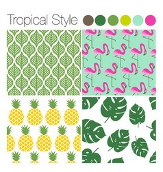 SET OF TROPICAL EXOTIC JUNGLE BACKGROUNDS PATTERNS vector image