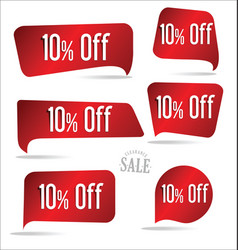 10 percent off red sticker collection vector image