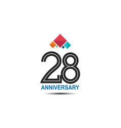 28 anniversary logotype with colorful crown vector