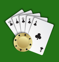 a royal flush clubs with gold poker chip vector image