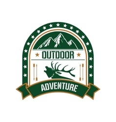 Adventure club badge design with deer and mountain vector