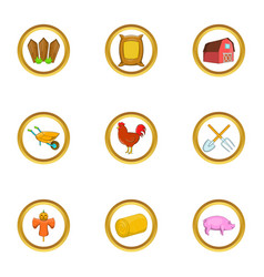 Agriculture icon set cartoon style vector