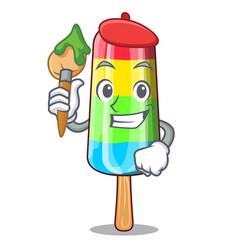 artist colorful ice cream sticks on cartoon vector image