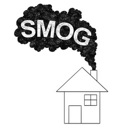 Artistic drawing of smoke coming from house vector
