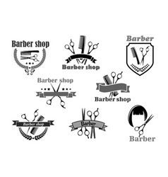 barber shop icons set templates vector image