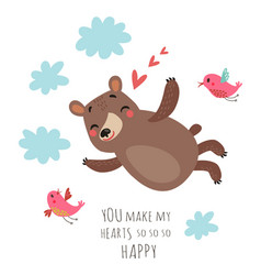 bear valentines card vector image
