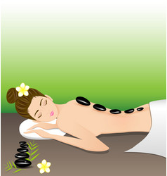Beautiful woman lying a therapy with hot stones vector image