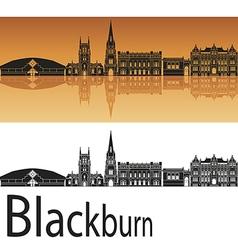 Blackburn skyline in orange background vector image