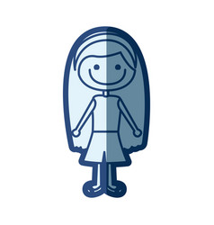 blue silhouette of caricature girl with long hair vector image