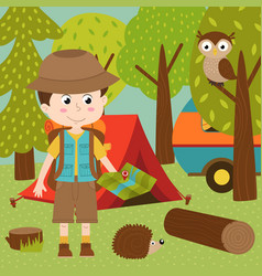 boy arrived in summer camp vector image