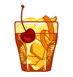 Cartoon - old fashioned cocktail with cherry and vector