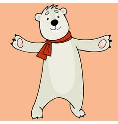 cartoon polar bear wearing a scarf vector image