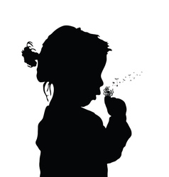 Child with dandelion silhouette vector