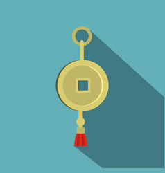 Chinese coin of luck icon flat style vector