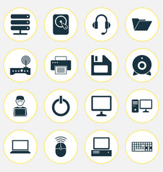 Computer icons set collection of power on vector