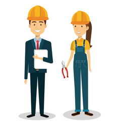 Construction workers avatars characters vector