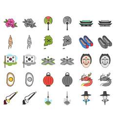 Country south korea cartoonmonochrom icons in set vector