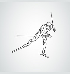 cross country skiing creative silhouette vector image