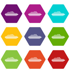 cruise ship icon set color hexahedron vector image