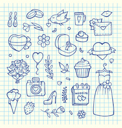 doodle wedding elements set background vector image