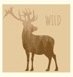 Double exposition deer with forest panorama - wild vector