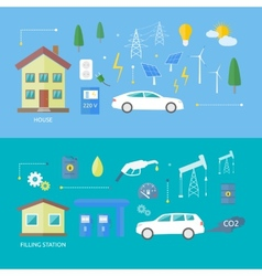 Electric cars and petrol car vector image