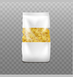 Farfalle pasta packaging template realistic vector