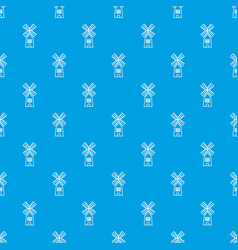farm windmill pattern seamless blue vector image