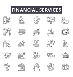 financial services line icons for web and mobile vector image
