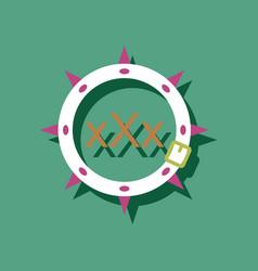 Flat icon design sadomasochism leather collar vector