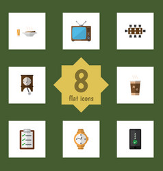 Flat icon life set of cellphone timer clock and vector