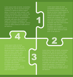 Four green pieces puzzle infographic 4 steps vector