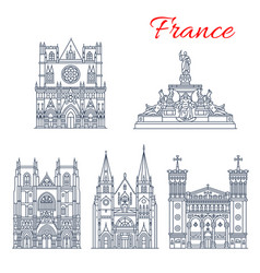 French travel landmark icon of european churches vector