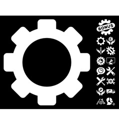 Gear Icon with Tools Bonus vector image