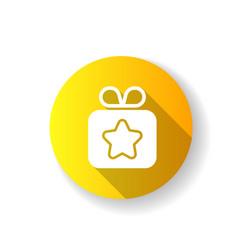 gift yellow flat design long shadow glyph icon vector image
