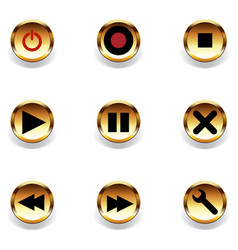 glossy web buttons and music controls icons vector image