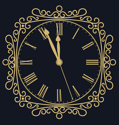 golden clock for new year and christmas design vector image