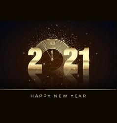 golden clock instead zero in 2021 happy new vector image