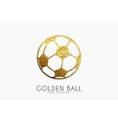 golden soccer ball golden football football logo vector image