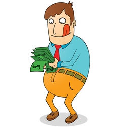 Greedy man with money vector