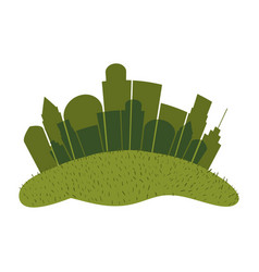 Green color silhouette city landscape with grass vector