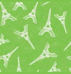 Green eifel tower paris and roses flowers vector