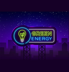 green energy neon sign eco energy design vector image